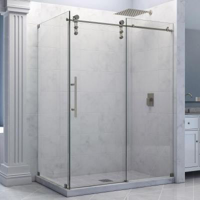 Enigma-Z 56-3/8 to 60-3/8 in. W x 34-1/2 in. D x 76 in. H Frameless Sliding Shower Enclosure in Brushed Stainless Steel