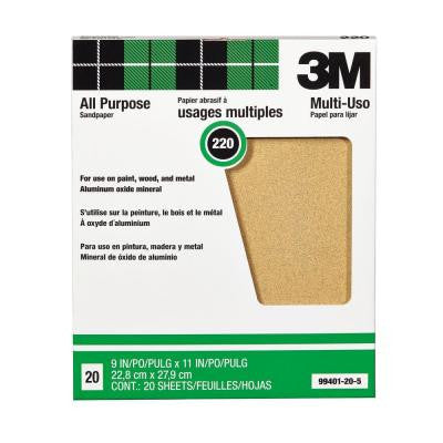 9 in. x 11 in. 220 Grit Aluminum Oxide Sandpaper (20 Sheets-Pack)
