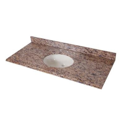 49 in. Stone Effects Vanity Top in Santa Cecilia with White Bowl