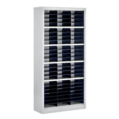 72 in. H x 34.5 in. W x 13 in. D Steel Commercial Literature Organizer Shelving Unit in Gray