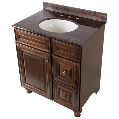 Templin 31 in. Vanity in Coffee with Stone Effects Vanity Top in Coffee