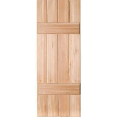 15 in. x 32 in. Exterior Real Wood Western Red Cedar Board and Batten Shutters Pair Unfinished