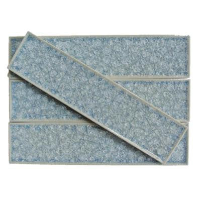 Roman Selection Iced Blue 2 in. x 8 in. x 9 mm Glass Mosaic Tile