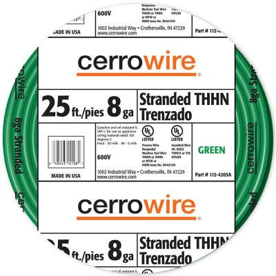25 ft. 8/1 Stranded THHN Wire - Green