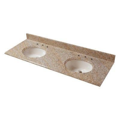 61 in. W Granite Vanity Top in Beige with Double Biscuit Bowls and 8 in. Faucet Spread