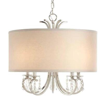 5-Light Polished Nickel Drum Pendant Chandelier with Beads