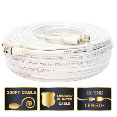 200 ft. Shielded Video and Power BNC Male Cable with 2 Female Connector