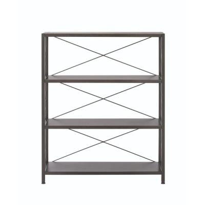 Ryan 3-Shelf Metal Open Bookcase in Burnished Black