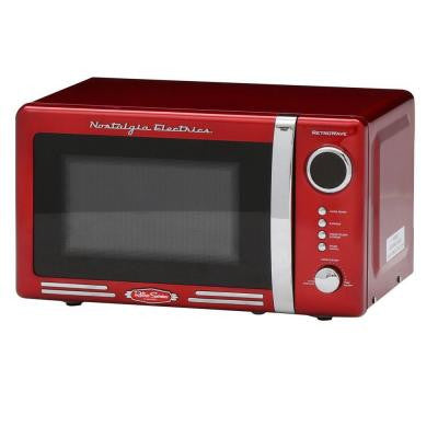 Retro Series 0.7 cu. ft. Countertop Microwave Oven in Red