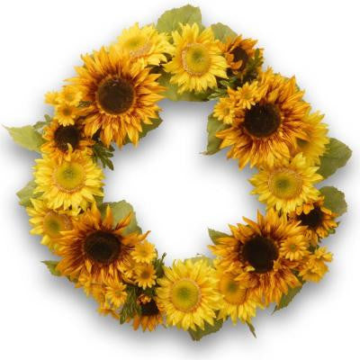 24 in. Yellow and Orange Sunflower Wreath