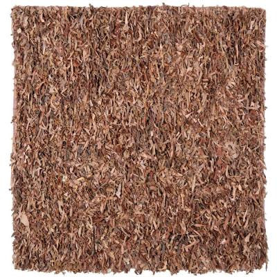 Leather Shag Brown 8 ft. x 8 ft. Square Area Rug
