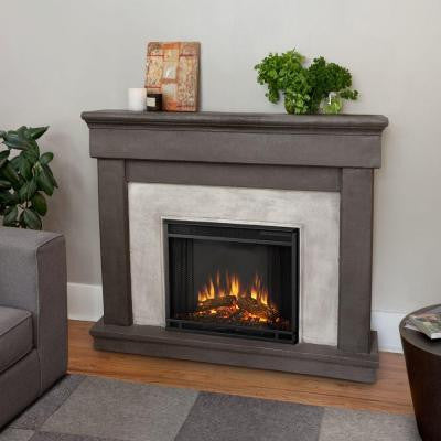 Cascade 50 in. Cast Electric Fireplace in Dune Stone