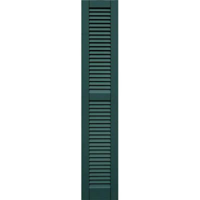 Wood Composite 12 in. x 65 in. Louvered Shutters Pair #633 Forest Green