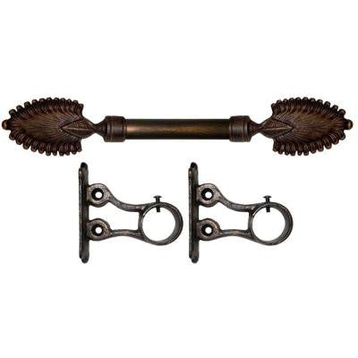 4 ft. Fixed Length 1 in. Dia. Metal Drapery Rod Set in Antique Bronze with Fan Finial