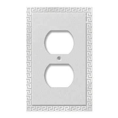 Greek Key 1 Duplex Wall Plate - Polished Chrome