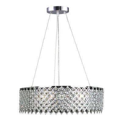 3-Light Crystal and Chrome Chandelier