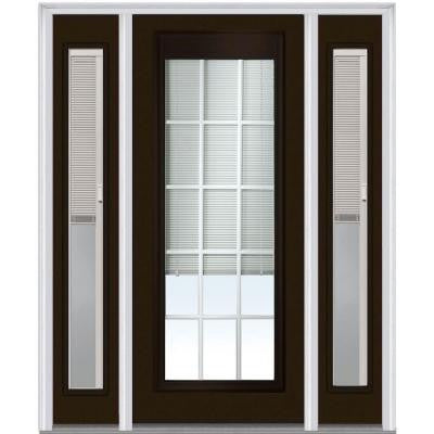 64 in. x 80 in. Classic Clear RLB GBG Low E Glass Full Lite Painted Majestic Steel Prehung Front Door with Sidelites