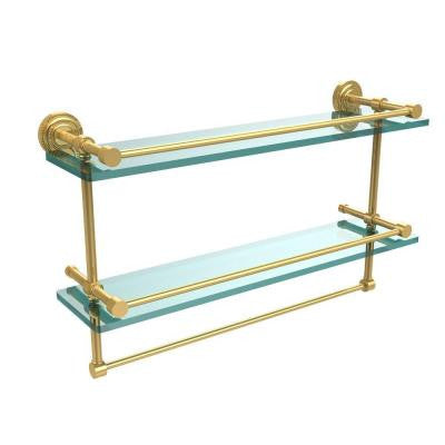 Dottingham 22 in. W Gallery Double Glass Shelf with Towel Bar in Polished Brass