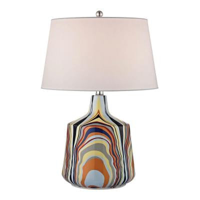 Technicolor Stripes 23 in. Multicolor Table Lamp with Shade