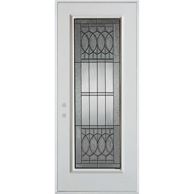 32 in. x 80 in. Nightingale Patina Full Lite Prefinished White Steel Prehung Front Door