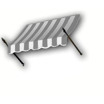 16 ft. New Orleans Awning (44 in. H x 24 in. D) in Gray/White Stripe