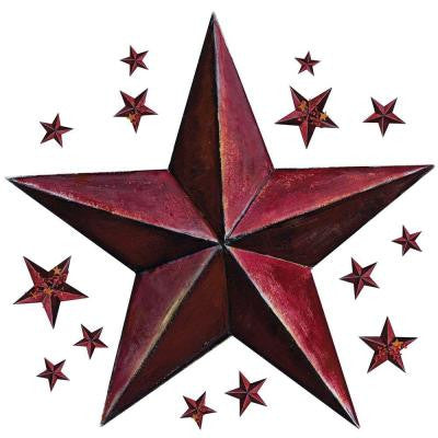 18 in. x 40 in. Barn Star 18-Piece Peel and Stick Giant Wal Decal - Burgundy