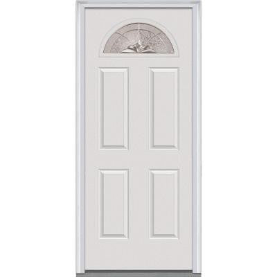 36 in. x 80 in. Heirloom Master Decorative Glass 1/4 Lite 4-Panel Primed White Fiberglass Smooth Prehung Front Door