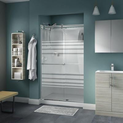 Lyndall 48 in. x 71 in. Semi-Framed Contemporary Style Sliding Shower Door in Chrome with Transition Glass