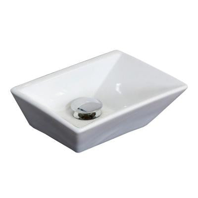 12-in. W x 9-in. D Above Counter Rectangle Vessel Sink In White Color For Deck Mount Faucet