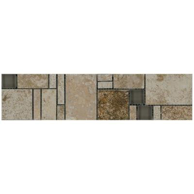 Travisano Trevi and Bernini 3 in. x 12 in. Glass Accent Decorative Trim Floor and Wall Tile
