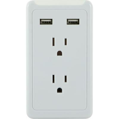Eye Indicator 2-Outlets and 2-USB Port 2.1-Amp, 450 Joules Tap - White