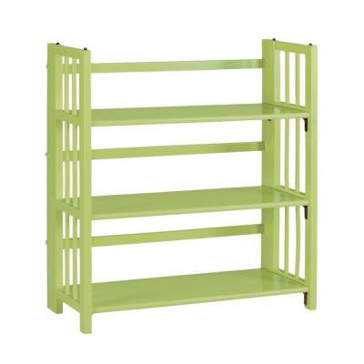 Multimedia Green Folding and Stacking 3-Shelf Bookcase