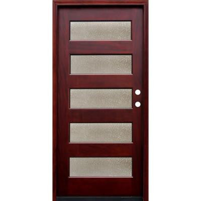 Contemporary 5 Lite Seedy Stained Mahogany Wood Prehung Front Door with 6 Wall Series