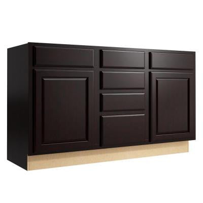 Salvo 60 in. W x 34 in. H Vanity Cabinet Only in Coffee