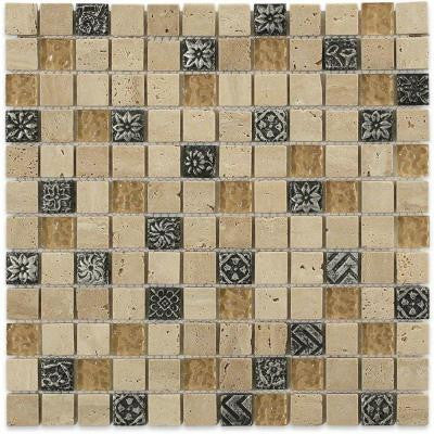 Tapestry Hydraneum Mixed Materials with Silver Deco 12 in. x 12 in. x 8 mm Mosaic Floor and Wall Tile