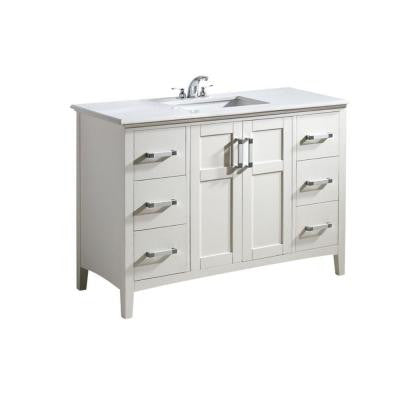 Winston 48 in. Vanity in White with Quartz Marble Vanity Top in White