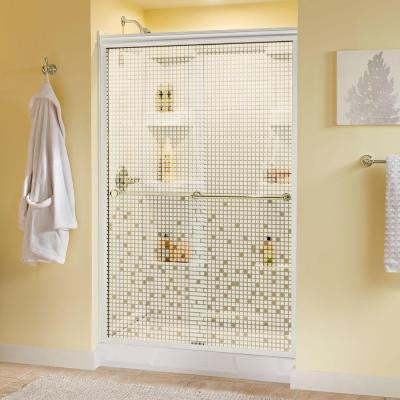 Crestfield 47-3/8 in. x 70 in. Semi-Framed Sliding Shower Door in White with Brass Hardware and Mosaic Glass