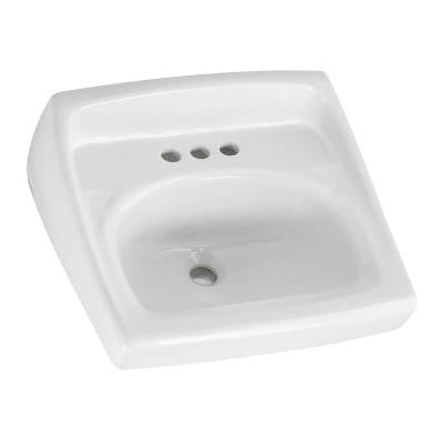 Lucerne Wall Hung Bathroom Sink in White with 4 in. Faucet Holes and Less Overflow