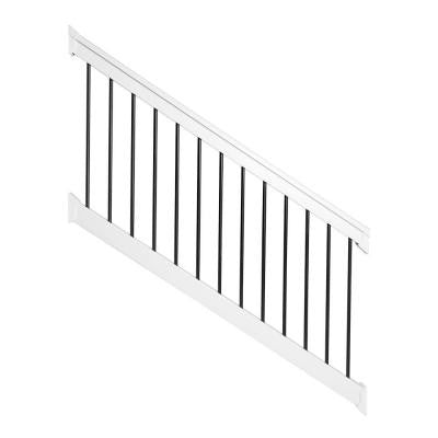 Bellaire 36 in. x 72 in. PVC White with Round Black Aluminum Spindles Stair Railing Kit