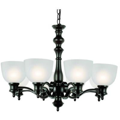Cabernet Collection 8-Light Oiled Bronze Chandelier with White Frosted Shade