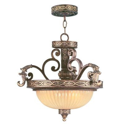 Providence 3-Light Ceiling Palatial Bronze with Gilded Accents Incandescent Semi Flush Mount