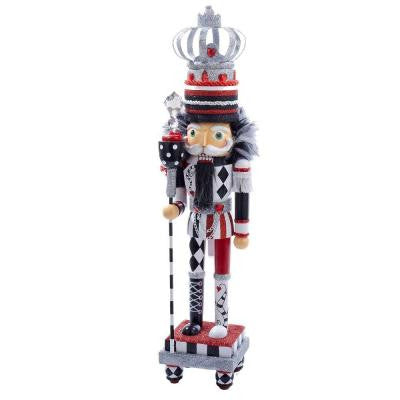 20 in. Hollywood Black/White/Red Nutcracker with Crown