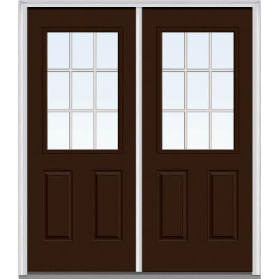 64 in. x 80 in. Classic Clear Glass GBG 1/2-Lite Painted Fiberglass Smooth Double Prehung Front Door