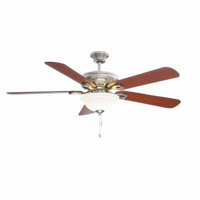 Rothley 52 in. Indoor Brushed Nickel Ceiling Fan with Shatter Resistant Light Shade