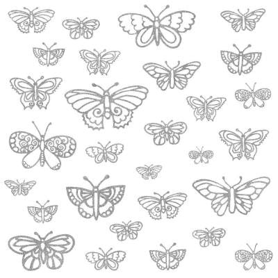 5 in. x 11.5 in. Glitter Butterflies Peel and Stick Wall Decal