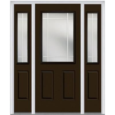 60 in. x 80 in. Classic Clear Glass PIM 1/2 Lite Painted Fiberglass Smooth Prehung Front Door with Sidelites