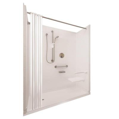 Elite Satin 31 in. x 60 in. x 77-1/2 in. 5-piece Barrier Free Roll In Shower System in White with Left Drain