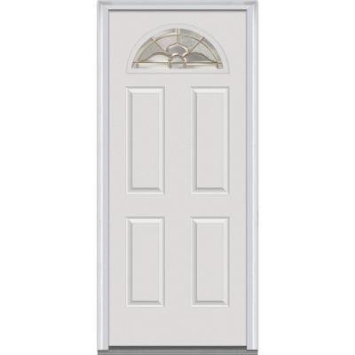 30 in. x 80 in. Master Nouveau Decorative Glass Fan Lite 4-Panel Primed White Majestic Steel Prehung Front Door