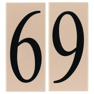 Address Light Collection Creme Plastic Number 69 Tile