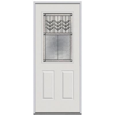 36 in. x 80 in. Prairie Bevel Decorative Glass 1/2 Lite 2-Panel Primed White Steel Replacement Prehung Front Door